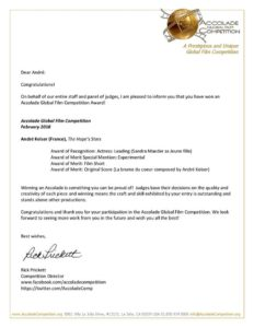 """Prix """"Accolade Competition"""" de notre professeur de piano - BPM Music"""