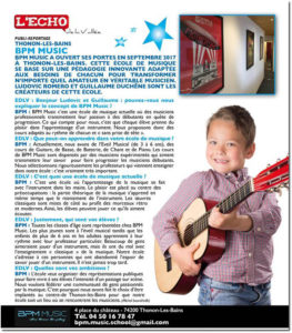 Publireportage sur BPM Music et les ateliers Prépazic et la Récré Musicale -L'Echo de la Vallée, décembre 2017
