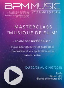 """Affiche annonçant les Masterclass """"Musique de Film"""" - BPM Music - 30 juin 2018"""